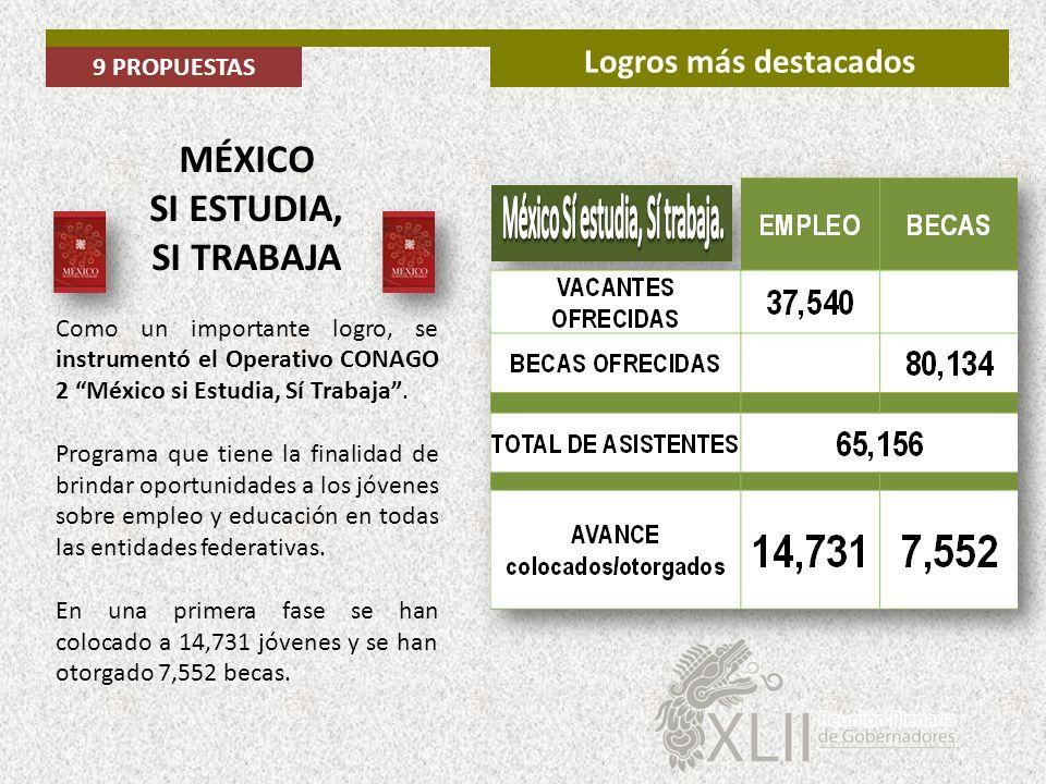 MÉXICO SI ESTUDIA, SI TRABAJA Como un importante logro, se instrumentó el Operativo CONAGO 2 México si Estudia, Sí Trabaja. Programa que tiene la fina