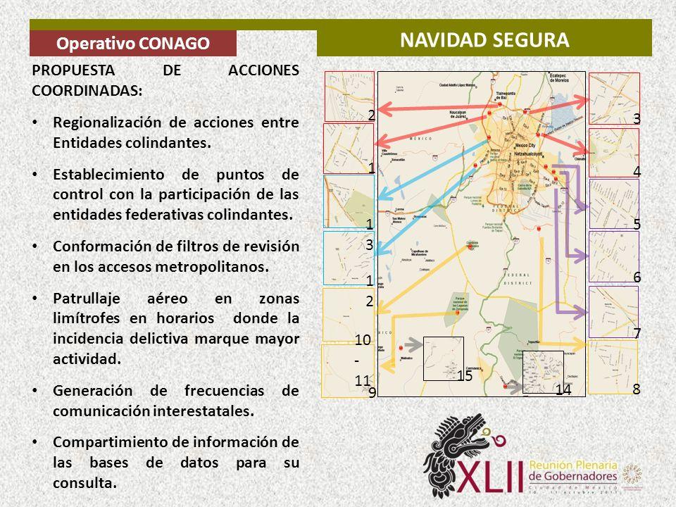 PROPUESTA DE ACCIONES COORDINADAS: Regionalización de acciones entre Entidades colindantes. Establecimiento de puntos de control con la participación