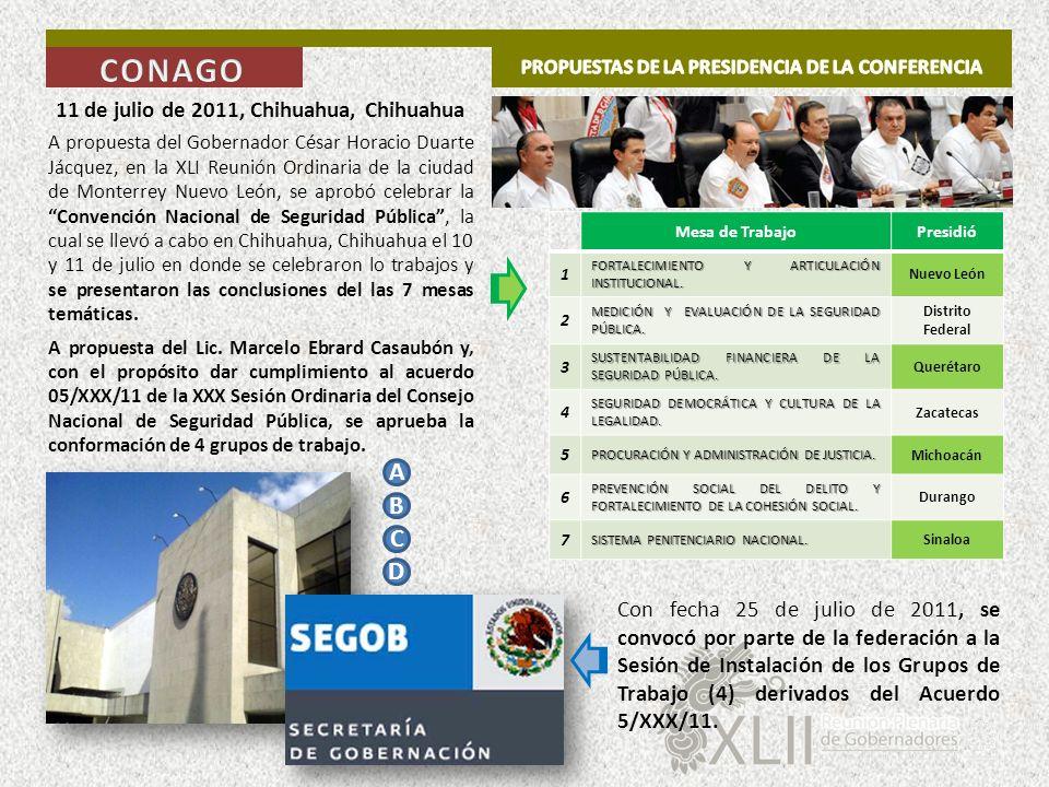 11 de julio de 2011, Chihuahua, Chihuahua A propuesta del Gobernador César Horacio Duarte Jácquez, en la XLI Reunión Ordinaria de la ciudad de Monterr