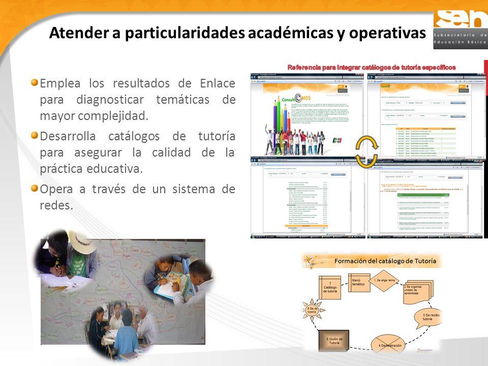 Atender a particularidades académicas y operativas Emplea los resultados de Enlace para diagnosticar temáticas de mayor complejidad.