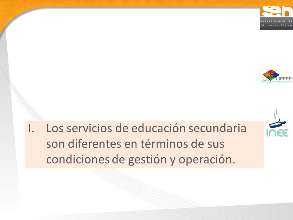 I.Los servicios de educación secundaria son diferentes en términos de sus condiciones de gestión y operación.