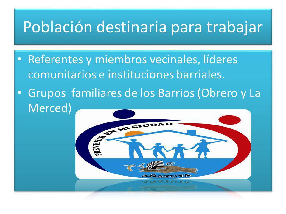 Población destinaria para trabajar Referentes y miembros vecinales, líderes comunitarios e instituciones barriales.