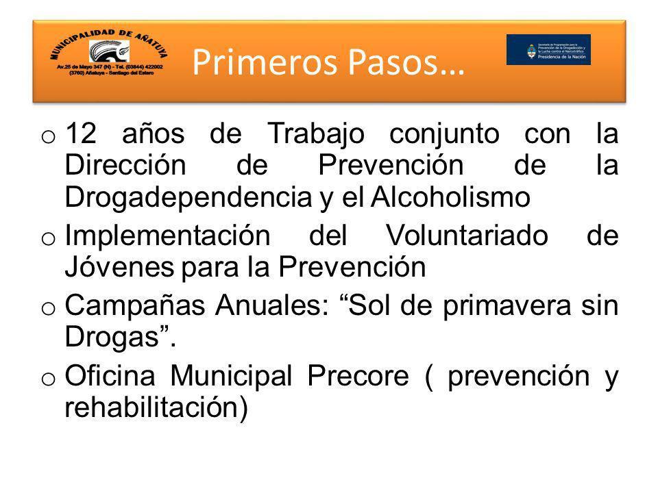 Primeros Pasos… Con la propuesta del Programa PREVENIR del Área de Prevención Nacional de SE.DRO.NAR.