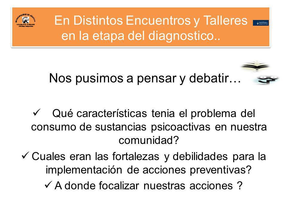 En Distintos Encuentros y Talleres en la etapa del diagnostico..