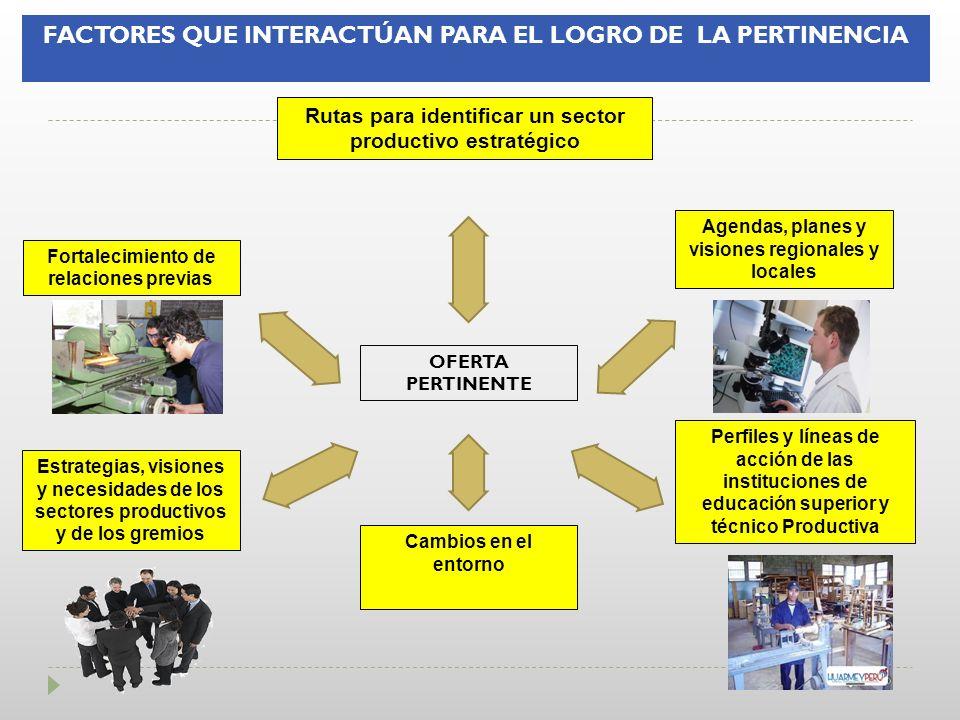 FACTORES QUE INTERACTÚAN PARA EL LOGRO DE LA PERTINENCIA Cambios en el entorno Fortalecimiento de relaciones previas Perfiles y líneas de acción de la