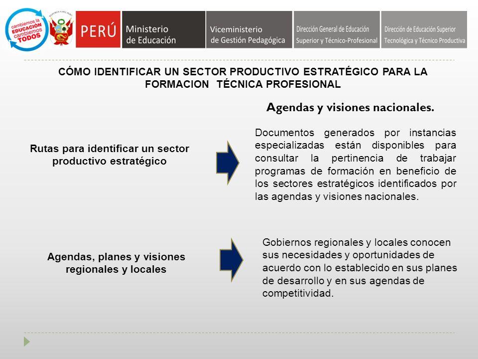 CÓMO IDENTIFICAR UN SECTOR PRODUCTIVO ESTRATÉGICO PARA LA FORMACION TÉCNICA PROFESIONAL Rutas para identificar un sector productivo estratégico Agendas y visiones nacionales.