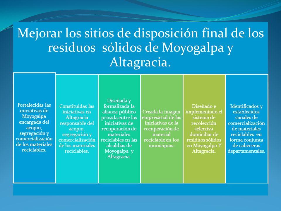 Mejorar los sitios de disposición final de los residuos sólidos de Moyogalpa y Altagracia. Fortalecidas las iniciativas de Moyogalpa encargada del aco