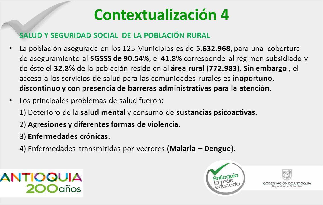 Contextualización 4 SALUD Y SEGURIDAD SOCIAL DE LA POBLACIÓN RURAL La población asegurada en los 125 Municipios es de 5.632.968, para una cobertura de aseguramiento al SGSSS de 90.54%, el 41.8% corresponde al régimen subsidiado y de éste el 32.8% de la población reside en al área rural (772.983).