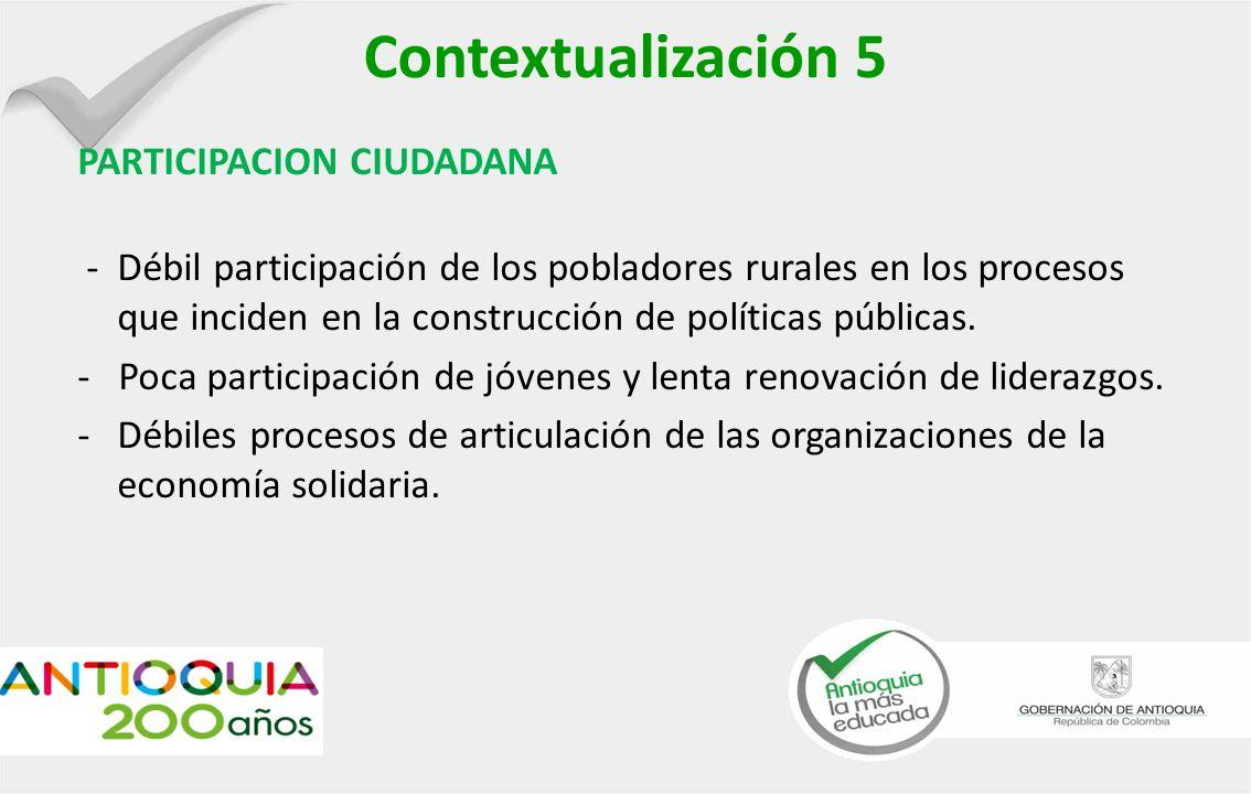 Contextualización 5 PARTICIPACION CIUDADANA -Débil participación de los pobladores rurales en los procesos que inciden en la construcción de políticas públicas.