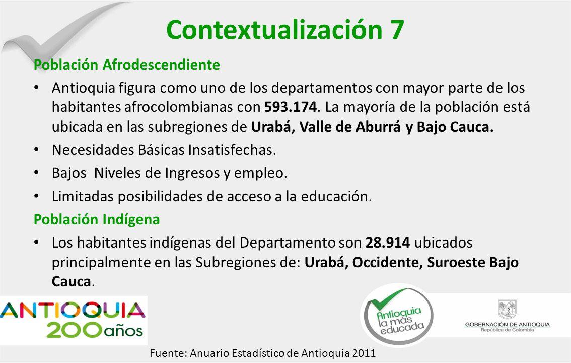Contextualización 7 Población Afrodescendiente Antioquia figura como uno de los departamentos con mayor parte de los habitantes afrocolombianas con 593.174.