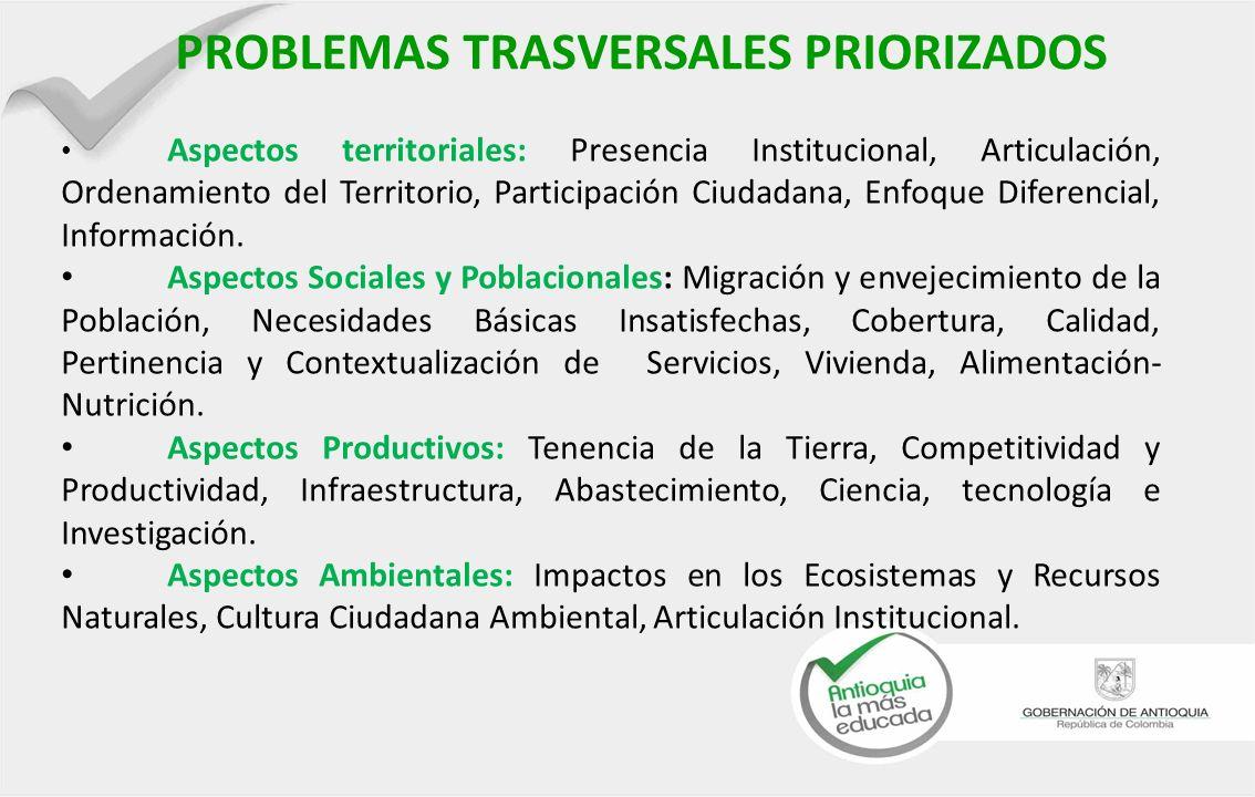 PROBLEMAS TRASVERSALES PRIORIZADOS Aspectos territoriales: Presencia Institucional, Articulación, Ordenamiento del Territorio, Participación Ciudadana, Enfoque Diferencial, Información.