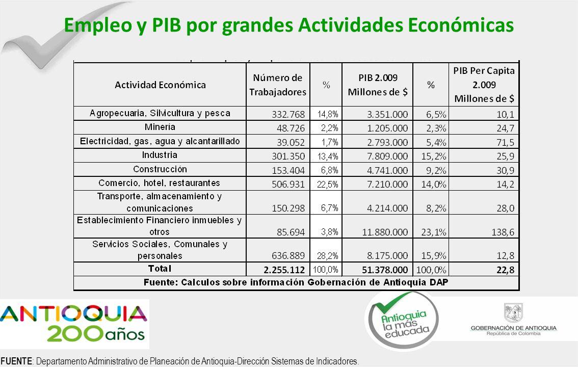 PIB AGROPECUARIO 2.005 FUENTE : Departamento Administrativo de Planeación de Antioquia-Dirección Sistemas de Indicadores.
