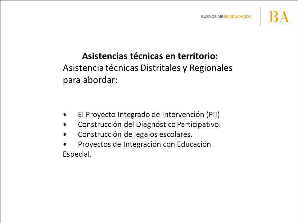 Asistencias técnicas en territorio: Asistencia técnicas Distritales y Regionales para abordar: El Proyecto Integrado de Intervención (PII) Construcción del Diagnóstico Participativo.