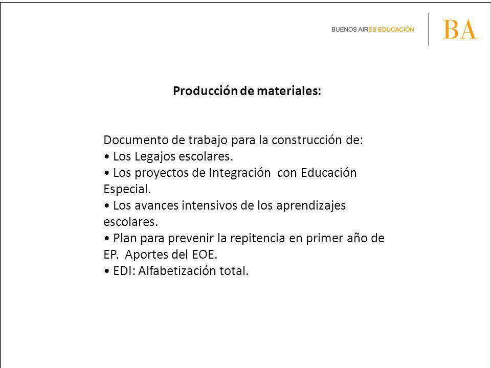 Producción de materiales: Documento de trabajo para la construcción de: Los Legajos escolares. Los proyectos de Integración con Educación Especial. Lo