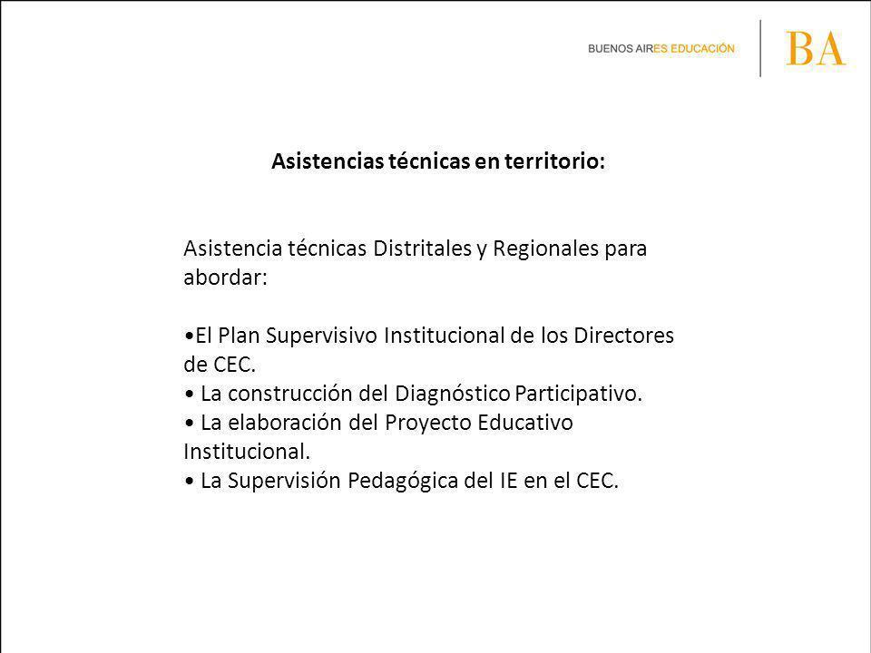 Asistencias técnicas en territorio: Asistencia técnicas Distritales y Regionales para abordar: El Plan Supervisivo Institucional de los Directores de