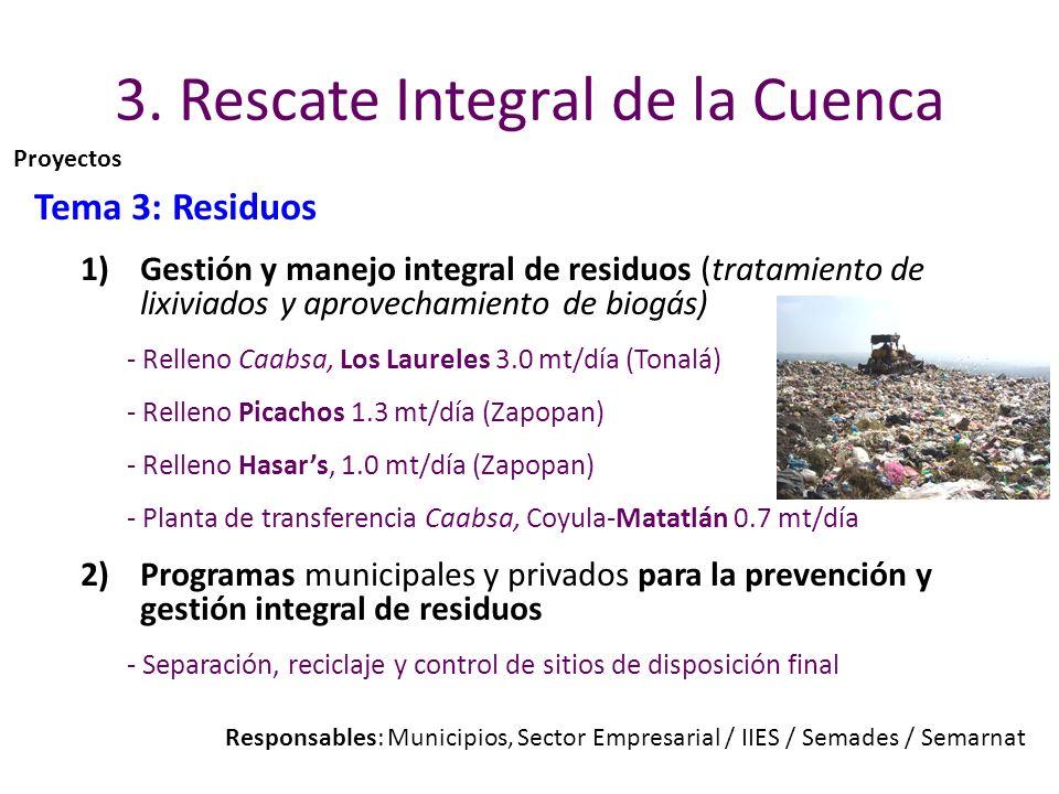3. Rescate Integral de la Cuenca Tema 3: Residuos 1)Gestión y manejo integral de residuos (tratamiento de lixiviados y aprovechamiento de biogás) - Re