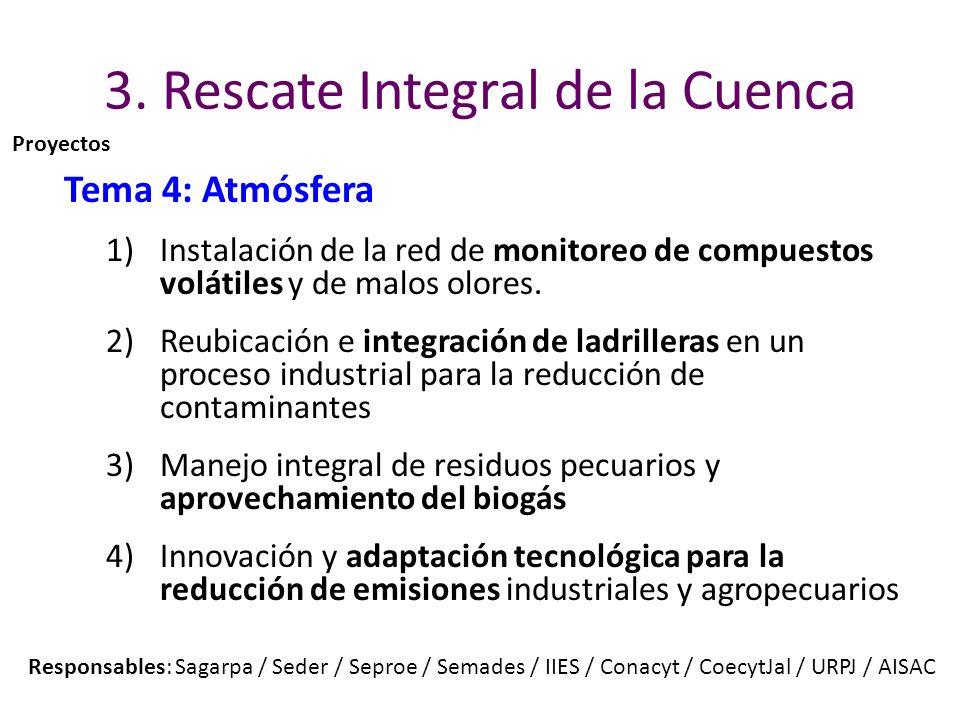 3. Rescate Integral de la Cuenca Tema 4: Atmósfera 1)Instalación de la red de monitoreo de compuestos volátiles y de malos olores. 2)Reubicación e int