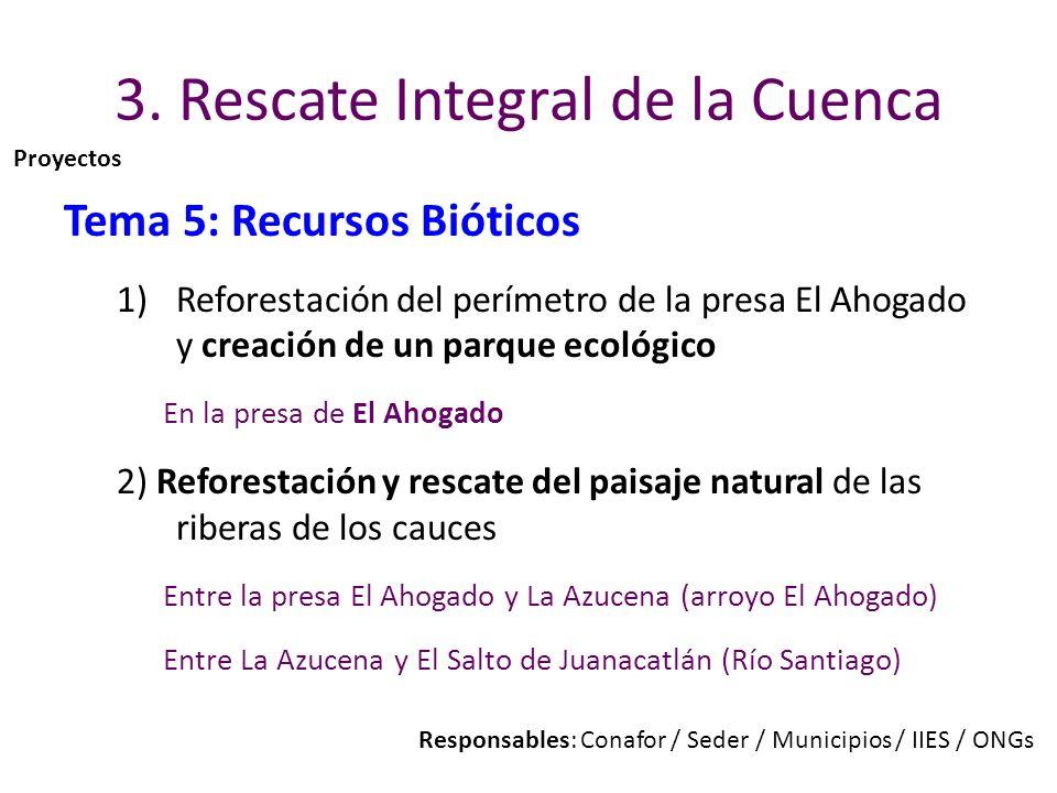 3. Rescate Integral de la Cuenca Tema 5: Recursos Bióticos 1)Reforestación del perímetro de la presa El Ahogado y creación de un parque ecológico En l