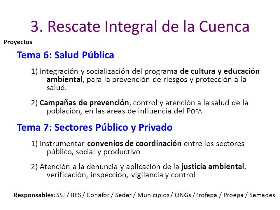 3. Rescate Integral de la Cuenca Tema 6: Salud Pública 1) Integración y socialización del programa de cultura y educación ambiental, para la prevenció