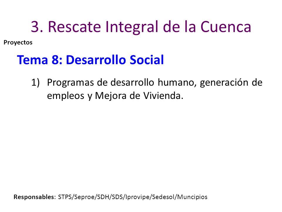 3. Rescate Integral de la Cuenca Tema 8: Desarrollo Social 1)Programas de desarrollo humano, generación de empleos y Mejora de Vivienda. Responsables: