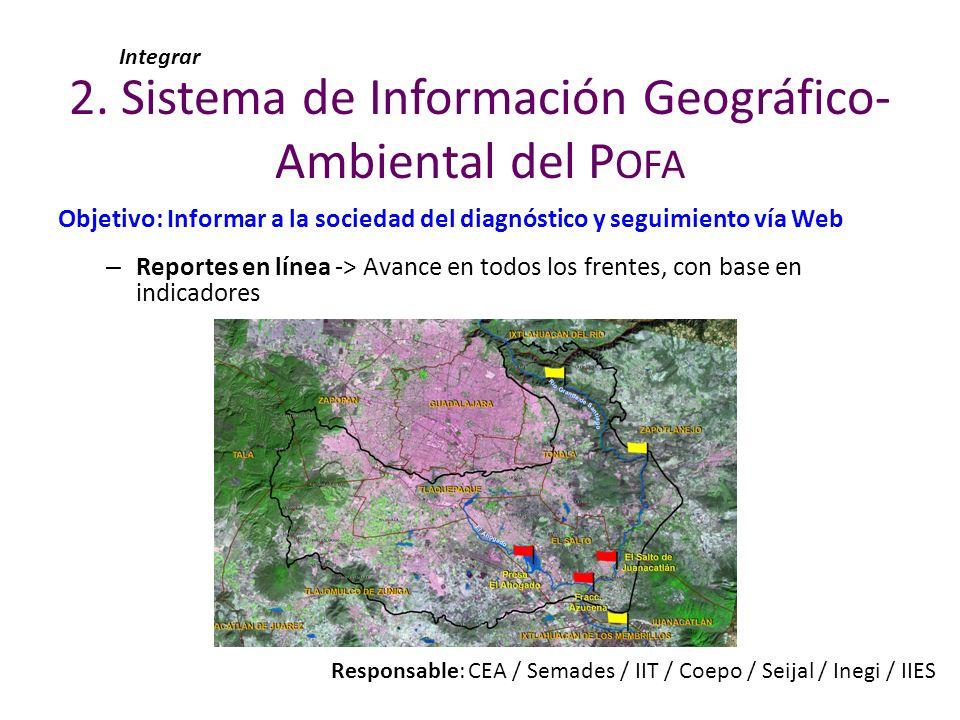 Objetivo: Informar a la sociedad del diagnóstico y seguimiento vía Web – Reportes en línea -> Avance en todos los frentes, con base en indicadores 2.