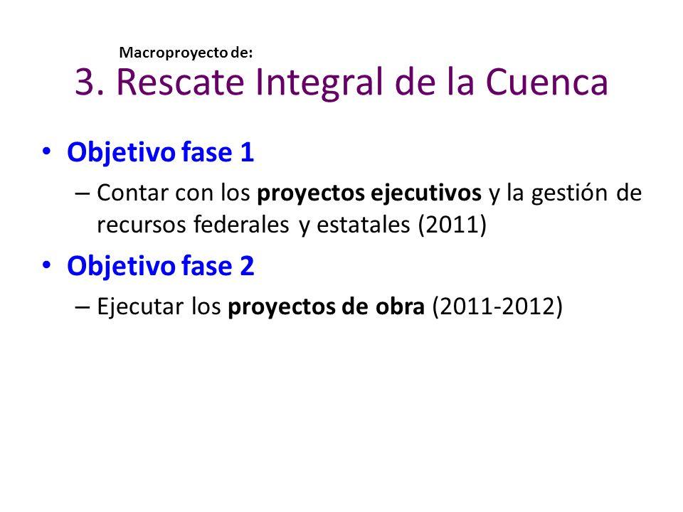 3. Rescate Integral de la Cuenca Objetivo fase 1 – Contar con los proyectos ejecutivos y la gestión de recursos federales y estatales (2011) Objetivo