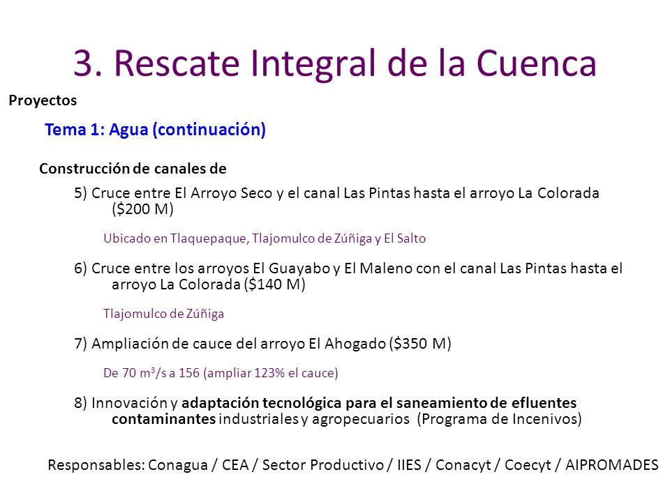 3. Rescate Integral de la Cuenca Tema 1: Agua (continuación) 5) Cruce entre El Arroyo Seco y el canal Las Pintas hasta el arroyo La Colorada ($200 M)