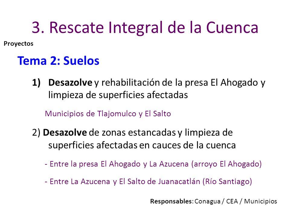 3. Rescate Integral de la Cuenca Tema 2: Suelos 1)Desazolve y rehabilitación de la presa El Ahogado y limpieza de superficies afectadas Municipios de