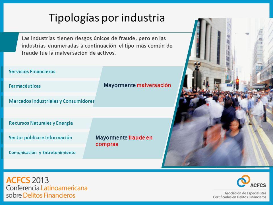 Tipologías por industria Las industrias tienen riesgos únicos de fraude, pero en las industrias enumeradas a continuación el tipo más común de fraude