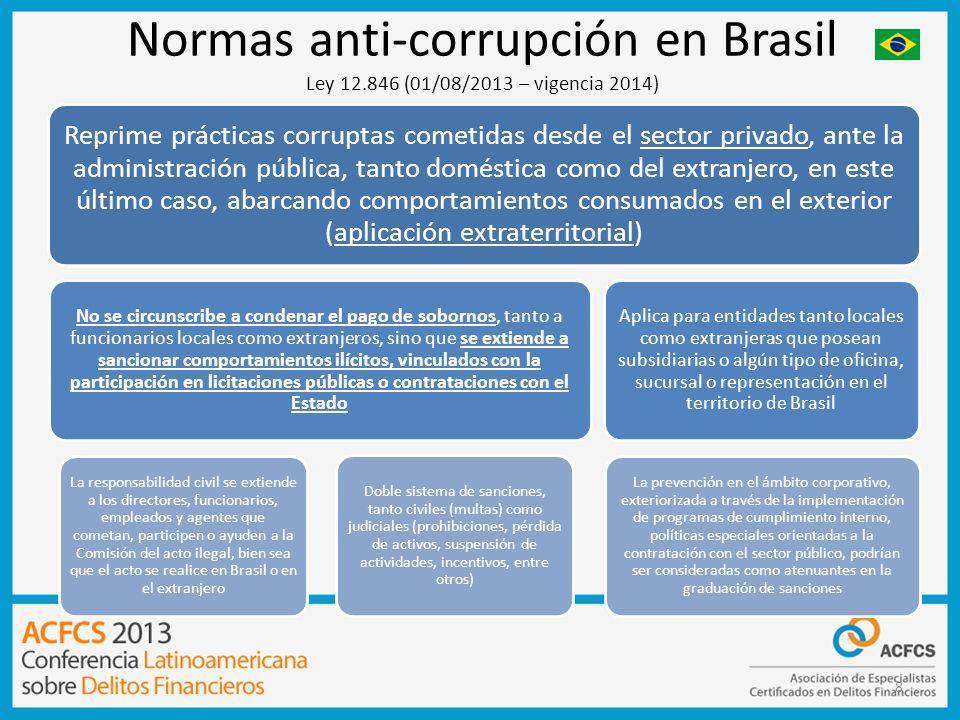 8 Normas anti-corrupción en Brasil Ley 12.846 (01/08/2013 – vigencia 2014) Reprime prácticas corruptas cometidas desde el sector privado, ante la admi