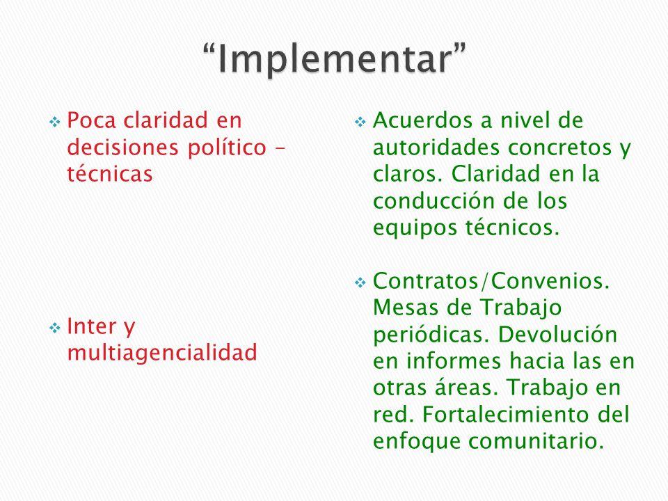 Poca claridad en decisiones político – técnicas Inter y multiagencialidad Acuerdos a nivel de autoridades concretos y claros.