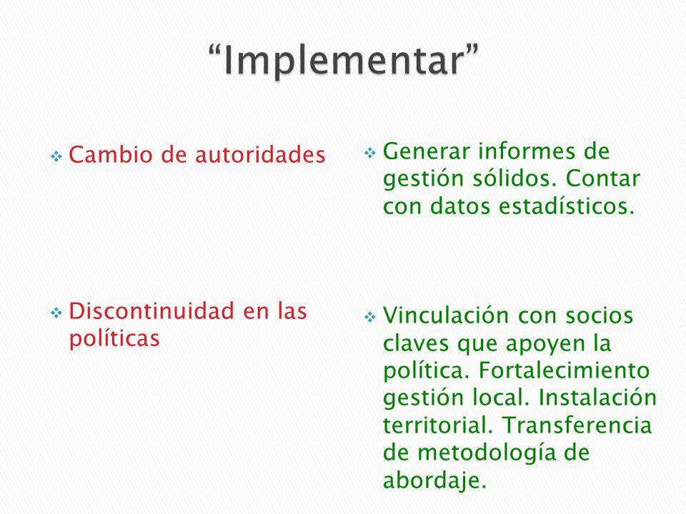 Cambio de autoridades Discontinuidad en las políticas Generar informes de gestión sólidos.