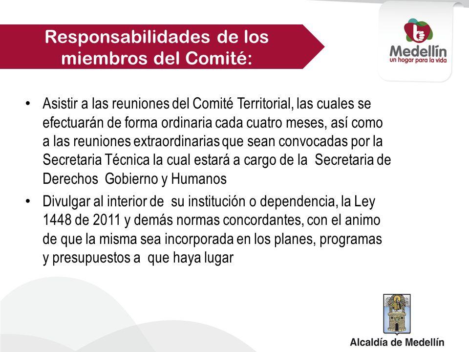 Garantizar el cumplimiento de los compromisos y plan de acción en los concerniente a las competencias de su institución o dependencia Responsabilidades de los miembros del Comité: