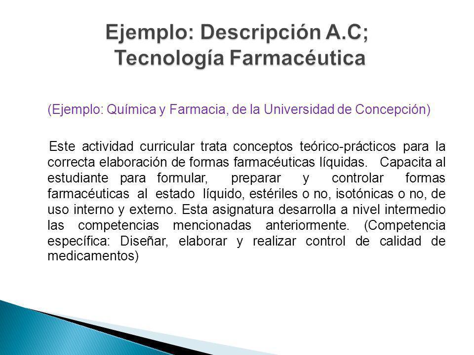 (Ejemplo: Química y Farmacia, de la Universidad de Concepción) Este actividad curricular trata conceptos teórico-prácticos para la correcta elaboració