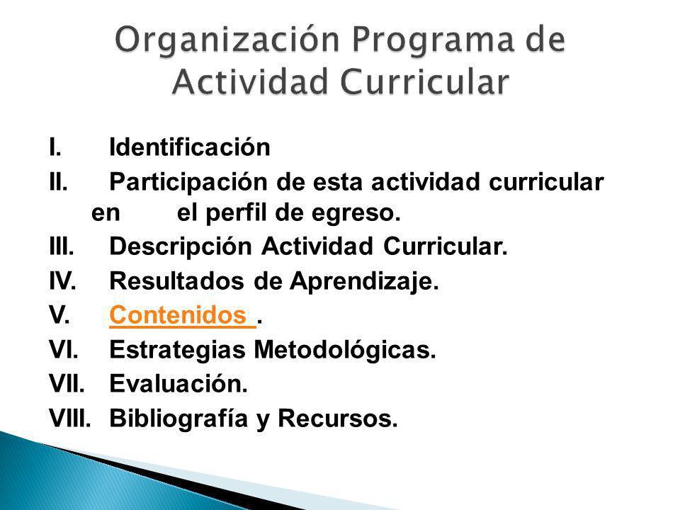 I. Identificación II. Participación de esta actividad curricular en el perfil de egreso. III. Descripción Actividad Curricular. IV. Resultados de Apre
