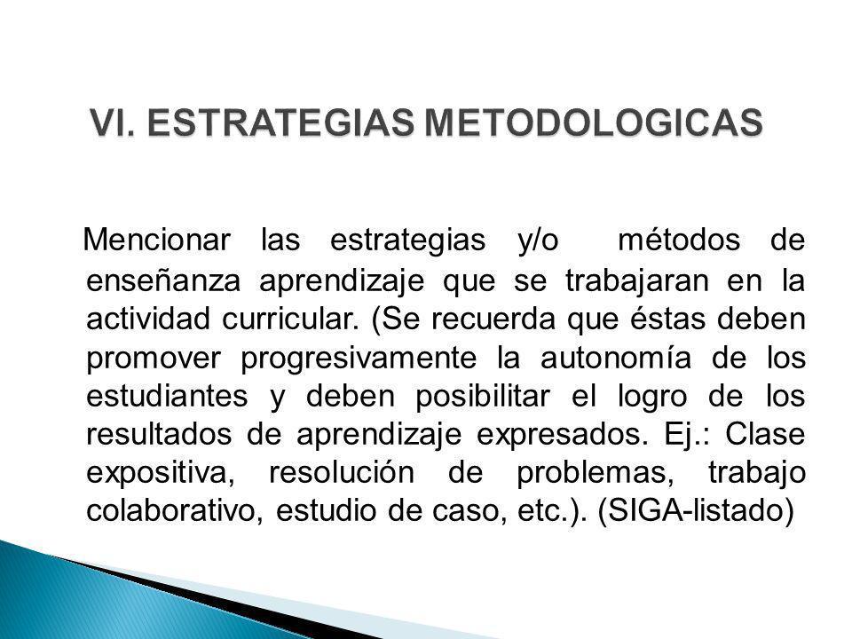 Mencionar las estrategias y/o métodos de enseñanza aprendizaje que se trabajaran en la actividad curricular. (Se recuerda que éstas deben promover pro