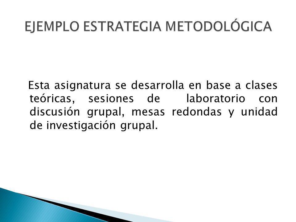 Esta asignatura se desarrolla en base a clases teóricas, sesiones de laboratorio con discusión grupal, mesas redondas y unidad de investigación grupal