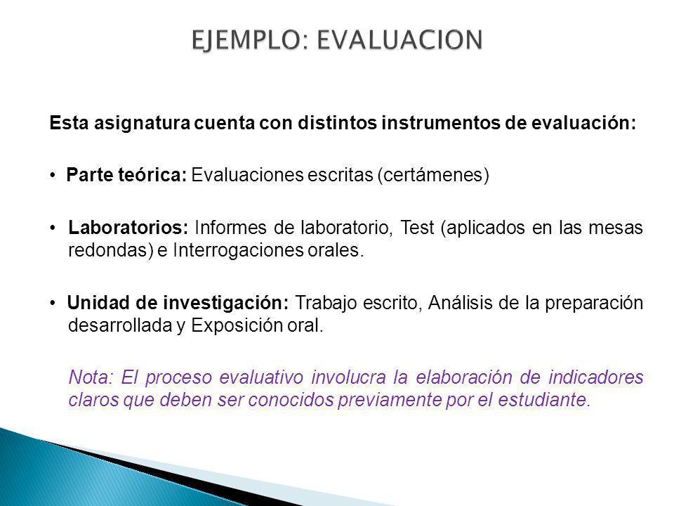 Esta asignatura cuenta con distintos instrumentos de evaluación: Parte teórica: Evaluaciones escritas (certámenes) Laboratorios: Informes de laborator