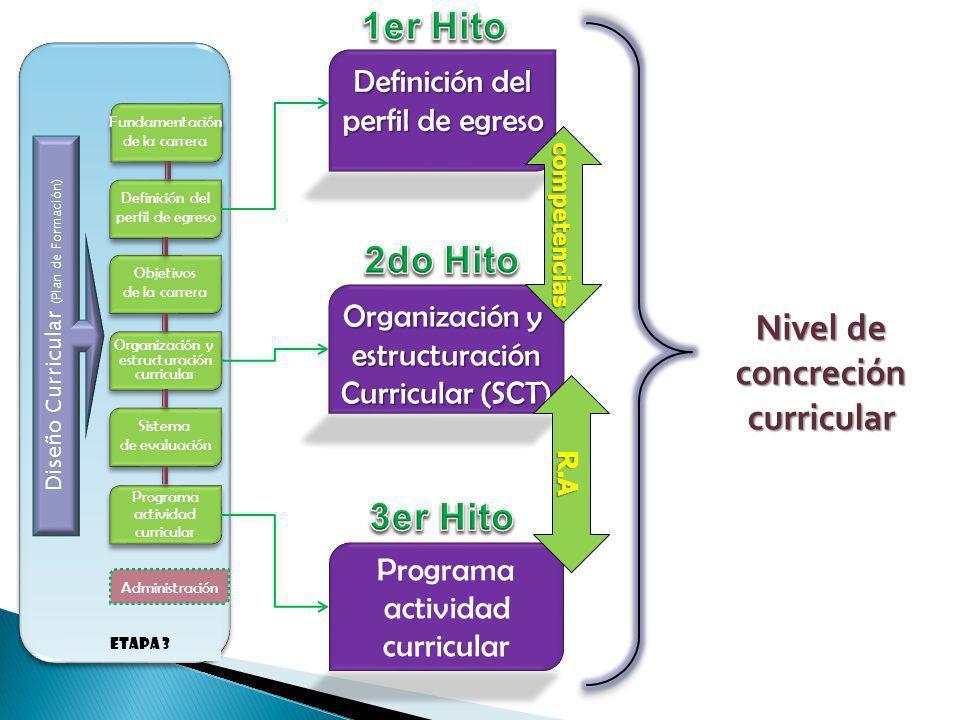 Definición del perfil de egreso Organización y estructuración Curricular (SCT) Programa actividad curricular Fundamentación de la carrera Fundamentaci
