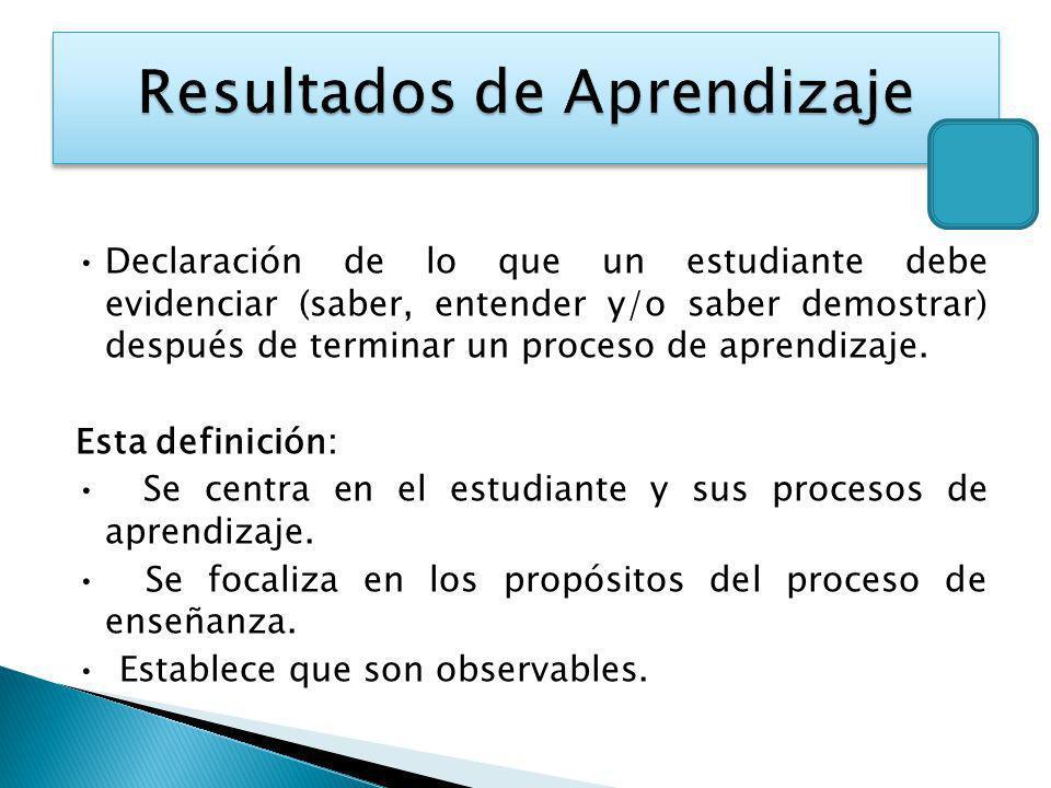 Declaración de lo que un estudiante debe evidenciar (saber, entender y/o saber demostrar) después de terminar un proceso de aprendizaje. Esta definici