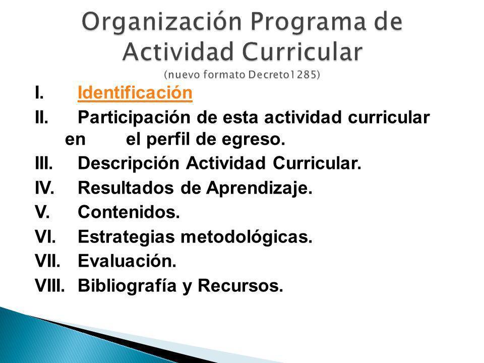 I. IdentificaciónIdentificación II. Participación de esta actividad curricular en el perfil de egreso. III. Descripción Actividad Curricular. IV. Resu