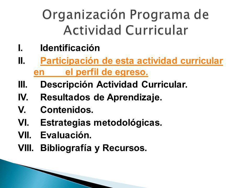 I. Identificación II. Participación de esta actividad curricular en el perfil de egreso.Participación de esta actividad curricular en el perfil de egr