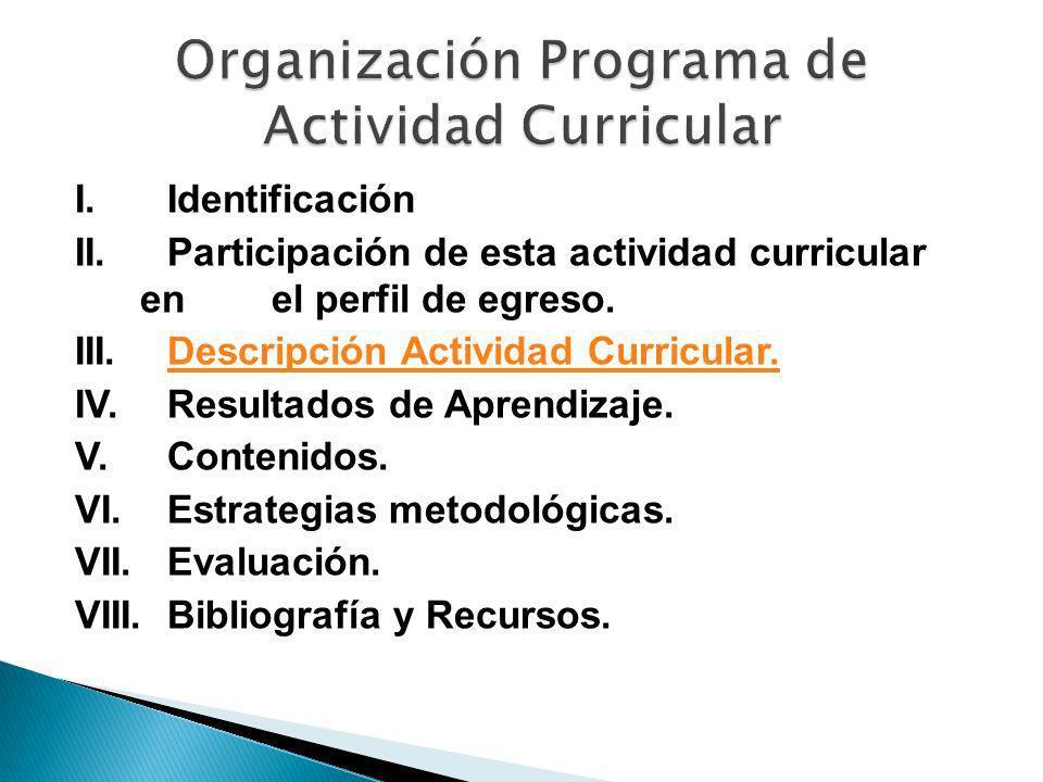 I. Identificación II. Participación de esta actividad curricular en el perfil de egreso. III. Descripción Actividad Curricular.Descripción Actividad C