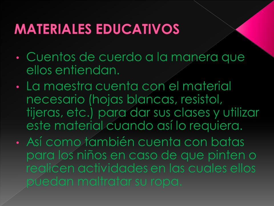 Cuentos de cuerdo a la manera que ellos entiendan. La maestra cuenta con el material necesario (hojas blancas, resistol, tijeras, etc.) para dar sus c
