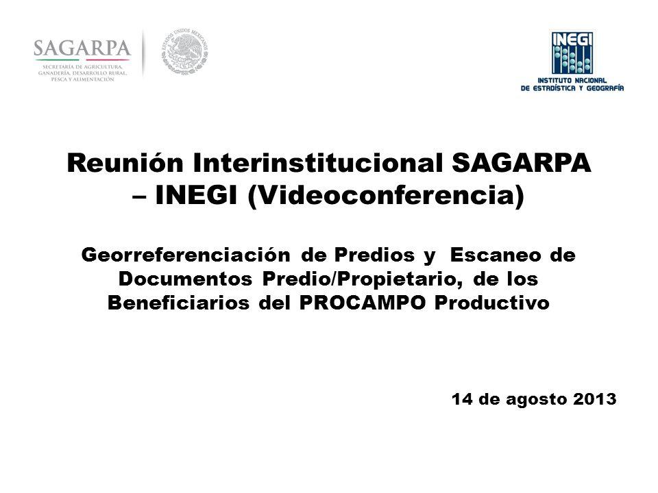 Reunión Interinstitucional SAGARPA – INEGI (Videoconferencia) Georreferenciación de Predios y Escaneo de Documentos Predio/Propietario, de los Beneficiarios del PROCAMPO Productivo 14 de agosto 2013