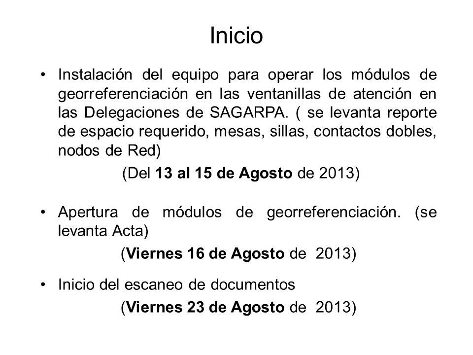 Inicio Instalación del equipo para operar los módulos de georreferenciación en las ventanillas de atención en las Delegaciones de SAGARPA.