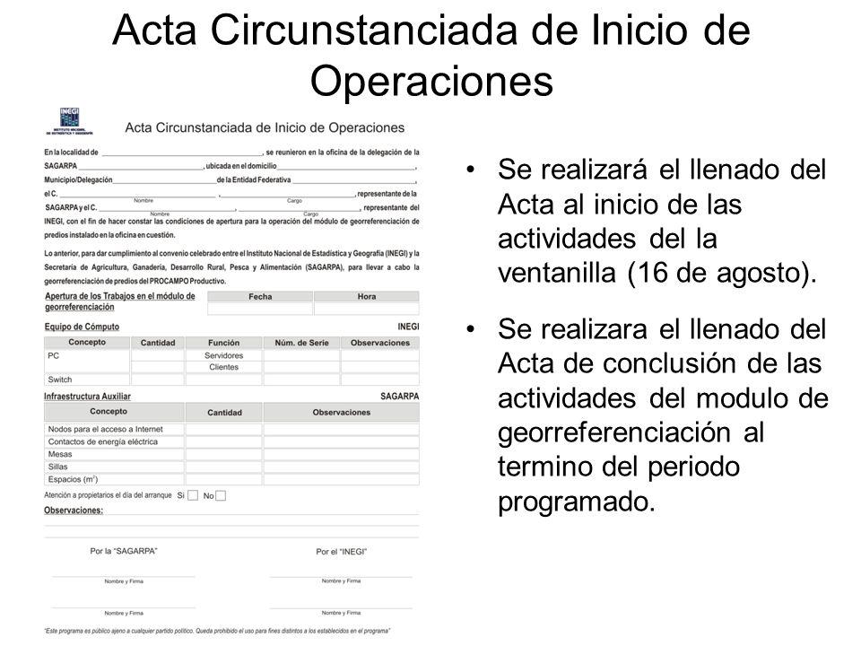 Acta Circunstanciada de Inicio de Operaciones Se realizará el llenado del Acta al inicio de las actividades del la ventanilla (16 de agosto). Se reali