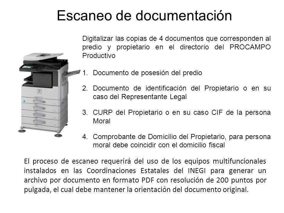 Digitalizar las copias de 4 documentos que corresponden al predio y propietario en el directorio del PROCAMPO Productivo 1.Documento de posesión del p