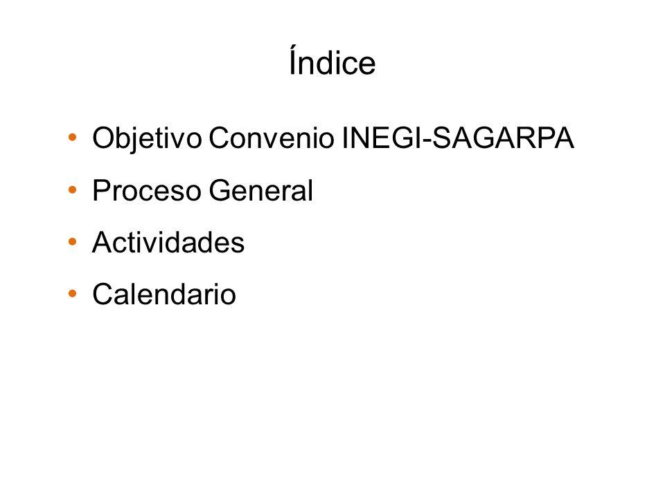 Índice Objetivo Convenio INEGI-SAGARPA Proceso General Actividades Calendario