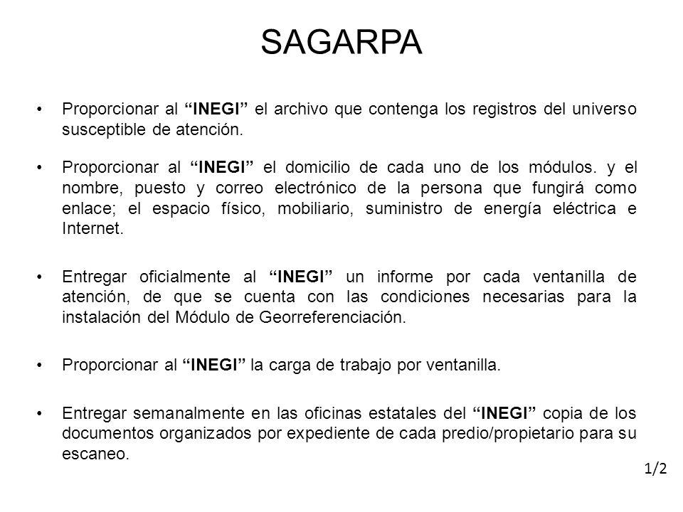 SAGARPA Proporcionar al INEGI el archivo que contenga los registros del universo susceptible de atención. Proporcionar al INEGI el domicilio de cada u